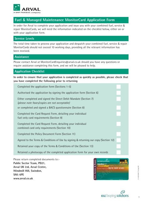 Fuel & Managed Maintenance MonitorCard Application Form - Arval