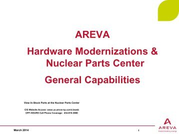 Product Catalog - AREVA NP Inc.
