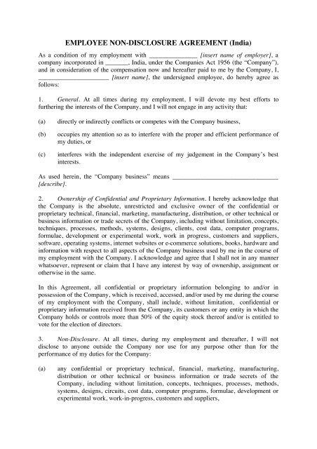 Employee Non Disclosure Agreement Megadox Com
