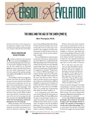 THEBIBLEANDTHEAGEOFTHEEARTH[PARTII] - Apologetics Press