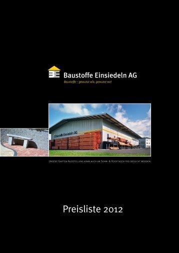Preisliste 14 - Baustoffe Einsiedeln AG