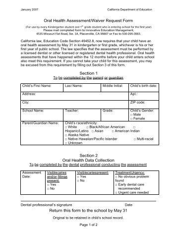 Grade K-1 Health/Physical Form - North Harrison Community Schools
