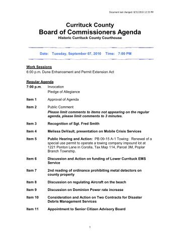 Agenda Packet - Currituck County Government