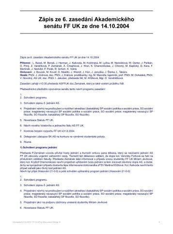 Zápis ze 6. zasedání Akademického senátu FF UK ze dne 14.10.2004