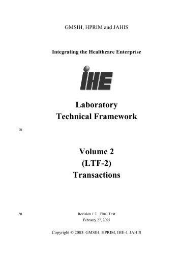 Laboratory Technical Framework Volume 2 - IHE