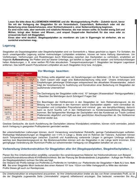 Beliebt Allgemeines zu Stegplatten - Dachplattenshop24.de FU87