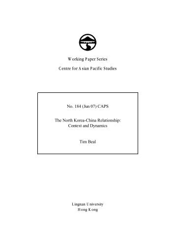 The North Korea-China Relationship - Lingnan University Library