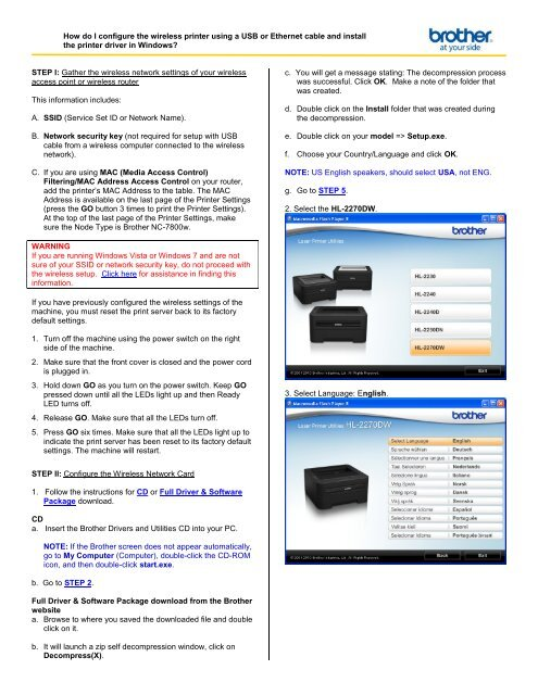 How do I configure the wireless printer using a USB or