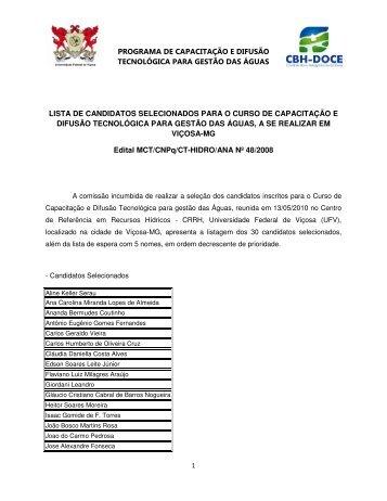 Candidatos selecionados para o Curso de Capacitação ... - CBH Doce