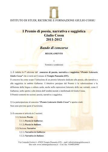 I Premio di poesia, narrativa e saggistica Giulio ... - Concorsi Letterari