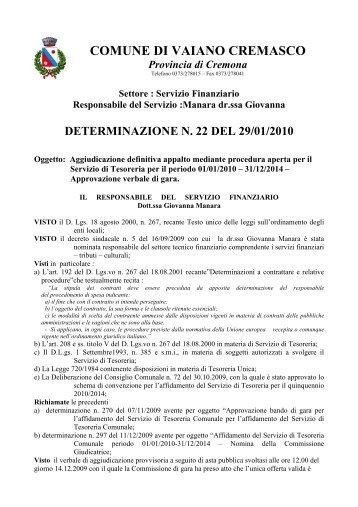 aggiudicazione definitiva tesoreria - Comune di Vaiano Cremasco