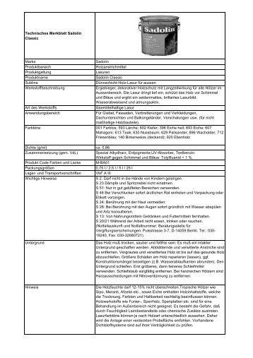 Technisches Merkblatt Sadolin Classic - Bauscouts