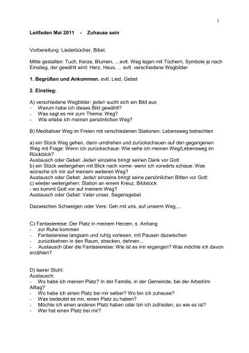 1 Leitfaden Mai 2011 - Zuhause sein Vorbereitung: Liederbücher ...