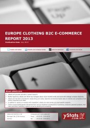 EUROPE CLOTHING B2C E-COMMERCE REPORT 2013 - yStats.com