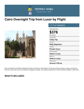 Cairo Overnight Trip from Luxor by Flight - Memphis Tours Egypt