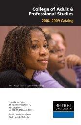 2008-2009 Catalog - College of Adult & Professional Studies