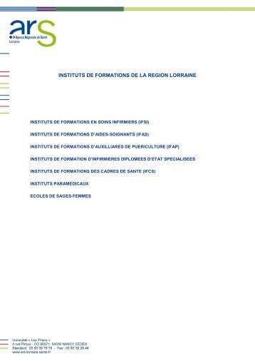 INSTITUTS DE FORMATIONS EN LORRAINE - ARS Lorraine