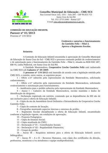 Parecer nº 01/2013 - Prefeitura de Santa Cruz do Sul