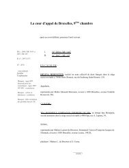 La cour d'appel de Bruxelles, 9ème chambre - Juridat