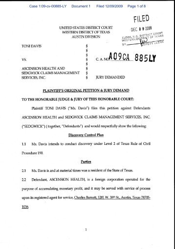 Case 1:09-cv-00885-LY Document 1 Filed 12/09/2009 Page 1 of 8