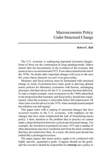Macroeconomic Policy Under Structural Change - Federal Reserve ...