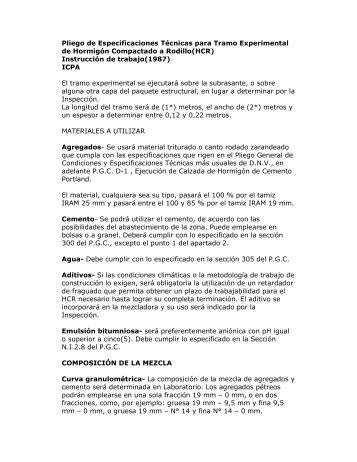 Pliego de Especificaciones Técnicas para Tramo ... - ICPA