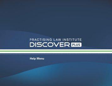 Help Menu - Discover PLUS - Practising Law Institute