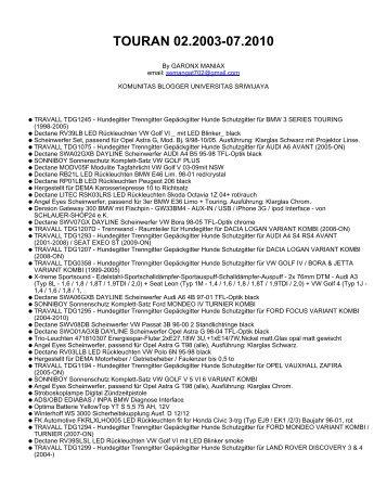 TOURAN 02.2003-07.2010 - Komunitas Blogger Unsri