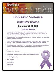 Domestic Violence - NMDPS Law Enforcement Academy