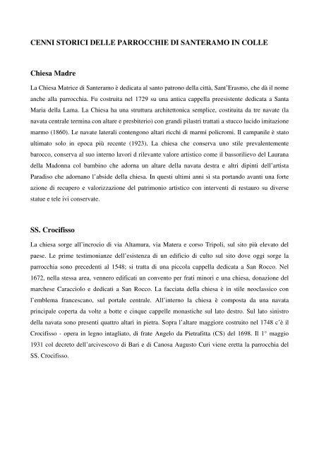 CENNI STORICI DELLE PARROCCHIE DI SANTERAMO IN COLLE ...