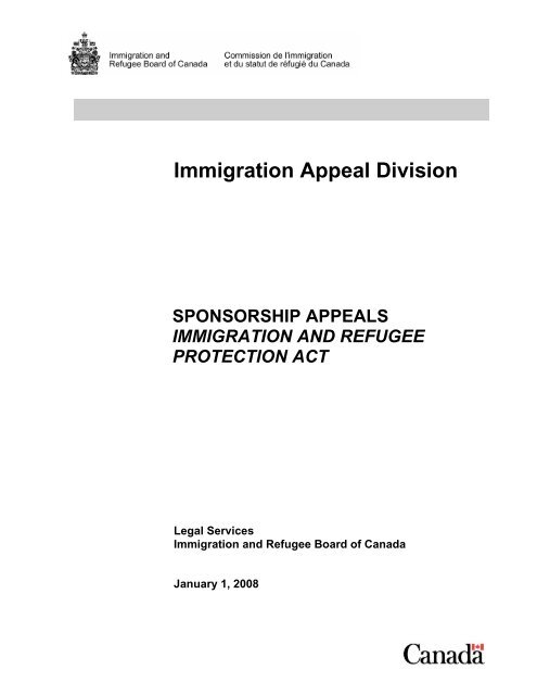 Sponsorship Appeals - Immigration and Refugee Board of Canada
