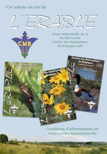 Cet article est tiré de - Cercles des Naturalistes de Belgique