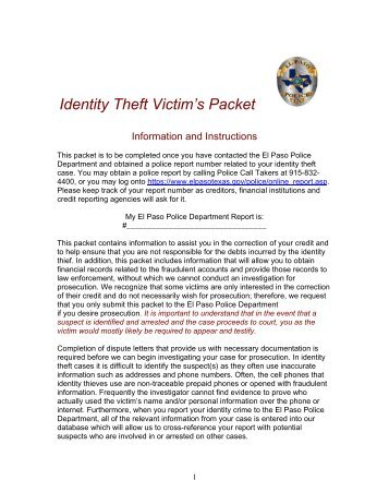 Identity Theft Packet - City of El Paso