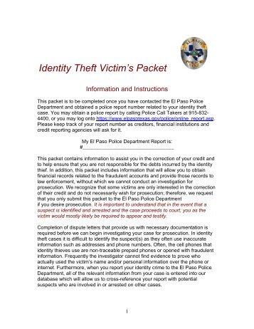 Identity Theft Packet - City of El Paso