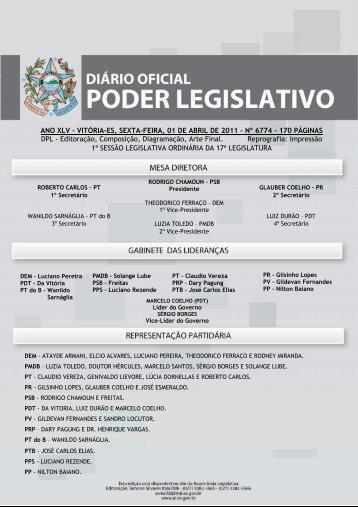 VITÓRIA-ES, SEXTA-FEIRA, 01 DE ABRIL DE 2011 - Assembléia ...