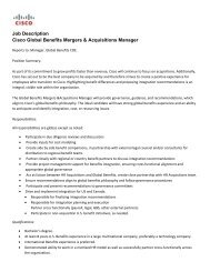 Global Benefits Mergers & Acquisitions Manager