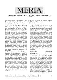 PAKISTAN AND THE CHALLENGE OF ISLAMIST ... - GLORIA Center