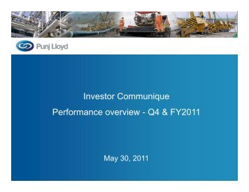 Investor Communique Performance overview ... - Punj Lloyd Group