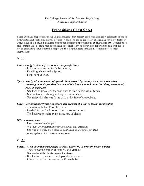 Prepositions cheat sheet - eGo Main - The Chicago School of