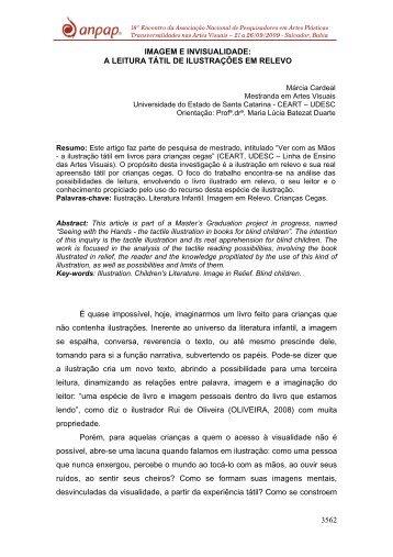 imagem e invisualidade: a leitura tátil de ilustrações em relevo - anpap