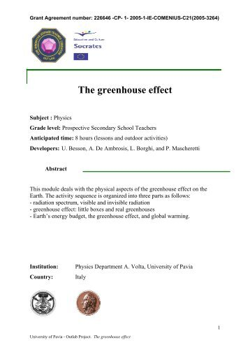 The greenhouse effect - OutLab.ie