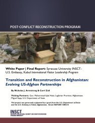 Transition and Reconstruction in Afghanistan - insct - Syracuse ...