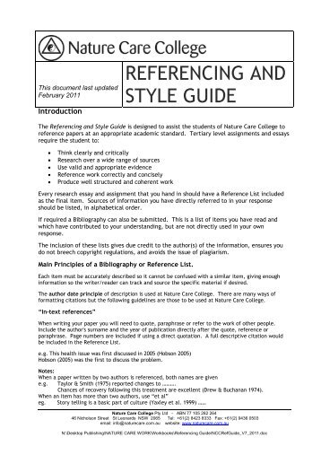 REFERENCING AND STYLE GUIDE - Nature Care College