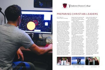 Spirit Article on THC - Templeton Honors College At Eastern University