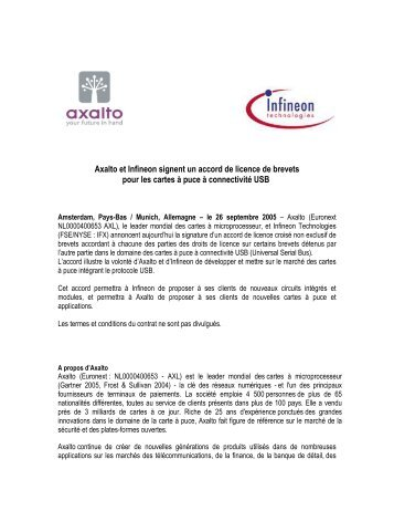 Axalto et Infineon signent un accord de licence - Gemalto