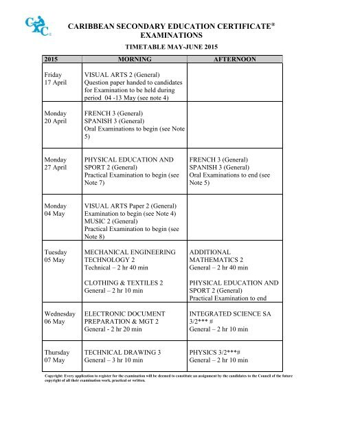 Timetable CSEC 2015 May June A4 Size