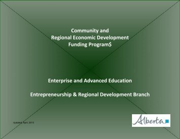 Community and Regional Economic Development Funding Programs