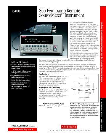 Model 6430 Data Sheets (No. 2133)