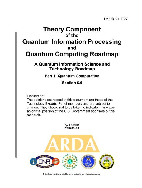 Theory Component Quantum Information Processing Quantum