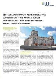 Deutschland braucht mehr innovatives eGovernment - ISB AG